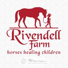 Custom horse logo design created for Rivendell Farm. Logo elements: young cowboy walking a horse. #cowboy #trademark #logo #horse #equine #heart #brand #branding #equestrian #art