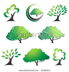 stock vector : Tree symbols. Abstract tree silhouettes vector set.