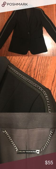 BNWOT ELIE TAHARI black blazer suit jacket chains Brand new without tags ELIE TAHARI black blazer/suit jacket Gorgeous chain detailing from collar down the sleeves 1 button closure in front 2 pockets Retails $395 Never worn  Please check out my other listings. Elie Tahari Jackets & Coats Blazers