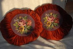Velvet pillows...made from old curtain... with needlepoint roses from two broken chairs...love this... by nirajasa, via Flickr