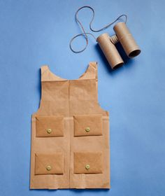 safari vest made from a paper grocery bag and safari binoculars made from toilet paper rolls. We all wear and go for a safari/walk to find hidden stuffed animal around school Safari Party, Safari Theme, Jungle Safari, Jungle Party, Diy Halloween Costumes For Kids, Fun Costumes, Costume Ideas, Simple Costumes, Tube Carton
