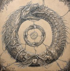 "The Ouroboros (""tail-devourer"") is an ancient symbol depicting a serpent or dragon swallowing its own tail and forming a circle. In ancient Egypt, it represented the sun and its eternal cyclical movement. Adopted by the Greeks, Romans and Norse as well as Hindu, Ashanti and Aztec, the meaning of the Ouroboros has widened to symbolise the cycle of life and death and by extension: infinity."