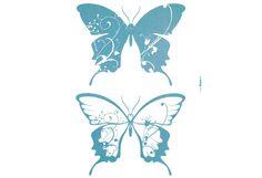 Selbstklebende Wandsticker. 2 dekorative Schmetterlinge mit Glitter veredelt. Größe 50/70 cm....