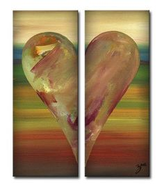 """Zane Heartwork """"Dayle"""" 2 Piece Painting Print on Wrapped Canvas Set (Set of 2)"""