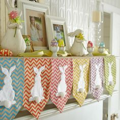 Use burlap with chevron pattern cut out some felt bunny silhouettes and some white poms