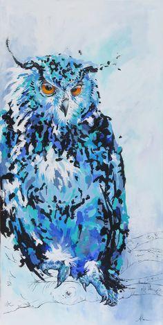 """Owl -24"""" x 48""""   by Andrea Mueller, Whistler, B.C."""