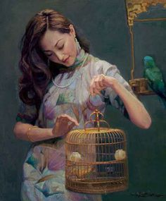 Oil Paintings of Chinese painter Chen Yifei Art for sale by Artists Chinese Contemporary Art, Contemporary Paintings, Painting People, Figure Painting, Painting Art, Damien Hirst, Art Hyperréaliste, Hyperrealistic Art, Art Magique