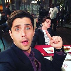 Josh Peck and Drake Bell reunited on the set of Josh's new show, Grandfathered.