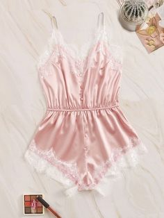 To find out about the Eyelash Lace Satin Romper Bodysuit at SHEIN, part of our latest Sexy Lingerie ready to shop online today! Lingerie Shop, Cute Lingerie, Women Lingerie, Lingerie Outfits, Lingerie Dress, Luxury Lingerie, Slep Dress, Lounge Underwear, Pink Fashion