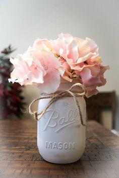 Antiqued/Weathered White Mason Jar with Pink Hydrangea