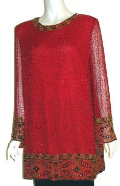 Vintage Laurence Kazar 80s Red Silk Blouse