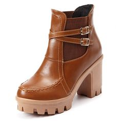 Big Size Chunky Heel Double Buckle Slip On Ankle Boots