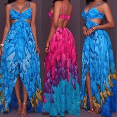 Boho Digital Print Cutout Maxi Slip Dress
