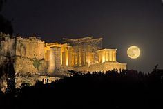 Don't miss Sunday's rare celestial event: How to see the supermoon, full moon and lunar eclipse Athens Acropolis, Parthenon, Athens Greece, Athens By Night, Greece History, Perseid Meteor Shower, Lunar Eclipse, Blood Moon, Super Moon