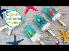 Hacer jabón de helado de glicerina con estrellas de mar con niños