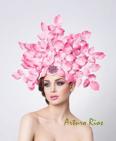 Couture Pink Silk leafs Fascinator Easter Hat Derby by ArturoRios, $295.00