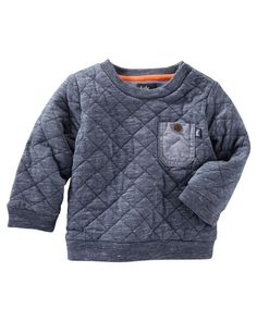 Baby Boy Quilted Pullover. Featuring quilted stitching, this handsome pullover pairs perfectly with jersey-lined joggers for a cozy, casual look.