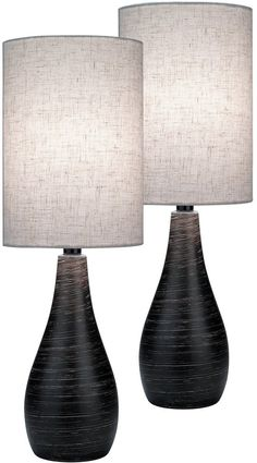 "Lite Source Quatro Set of 2 Table Lamp Brushed Dark Bronze LS29972PK | LampsUSA Brushed Dark Bronze Finish Dimensions: 27.5"" Height x 9"" Width x 9"" Depth Shade Dimensions: 13.5"" Height x 9"" Top Width x 9"" Bottom Width 2 x 13 Watts CFL Base Bulbs (not included)"