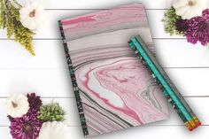 Pink and Black Marble Custom Notebook Travel Journal by Teakberry