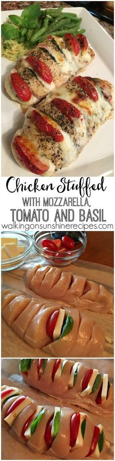 You'll love this easy recipe for chicken stuffed with mozzarella, tomato and basil from Walking on Sunshine Recipes.
