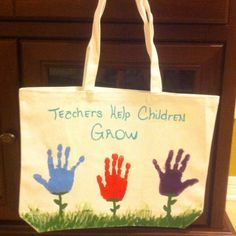 """Very special """"HAND"""" painted tote bag for a Teachers gift for only $5.00"""