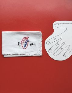 Hand Embroidered I Love You Anatomical Heart Hankie by wrenbirdarts