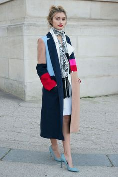 Sarah Ellen wears bold multicolour coat with teal pumps and patterned scarf