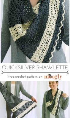 Quicksilver Shawlette - free crochet pattern on Mooglyblog.com! This is so gorgeous - such an easy look!