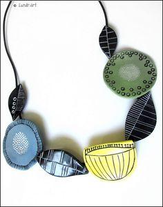 Midnight Summer Dream Sandra P Polymer Clay Necklace, Polymer Clay Beads, Polymer Clay Crafts, Clay Earrings, Ceramic Jewelry, Enamel Jewelry, Ceramic Beads, Textile Jewelry, Paper Jewelry