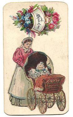 victorian ephemera | Victorian Scrap Ephemera Nursemaid Baby Carriage Nursery Maid Calling ...