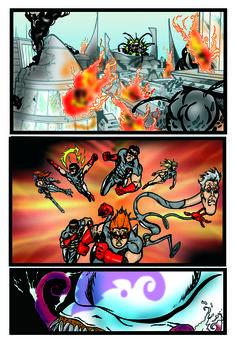 Página da HQ Os Invictos - O Amanhã Não Deve Ser Adiado Parte 01 (inédita) na versão colorida com arte e cores de Adriano Sapão