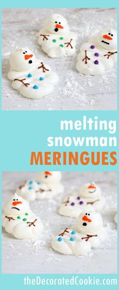 melting snowman meringues -- easy, fun cookie treat for Winter or Christmas