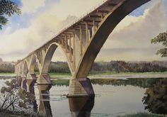 """""Hugh John Bridge "" Water Colour on Paper"