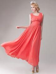 Summer Women's Sweet Waterelon Red Pleated Empire Waist Sleeveless Chiffon Maxi Dress Cheap Maxi Dresses, Plus Size Maxi Dresses, Prom Dresses, Formal Dresses, Chiffon Maxi Dress, Empire, Elegant, Sweet, Summer