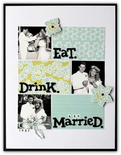 80s wedding photos are far less scary in black and white... layout by Jody Wenke #scrapbooking