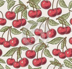 Cherry ripe on the tree isolated. Red cherry card, frame. Engraving, drawing fruits. Freehand. Flora. Vintage vector realistic illustration. Background, wallpaper. Vector victorian style Illustration.