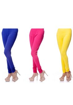 Dark Blue, Dark Pink and Yellow Readymade Cotton Lycra Legging Online Shopping: BST14