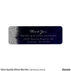 Silver Sparkly Glitter Blue Navy Velvet Return Address Label