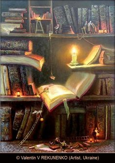 © Валентин Рекуненко / Valentin REKUNENKO (Artist. Ukraine)  ... Your bookshelves at night. All the characters emerge from the books to do a bit of their own reading - pfb :-) ...Give the artist some credit!  COPYRIGHT LAW requires the artist be credited per wiki.  COPYRIGHT LAW REQUIREMENTS: http://pinterest.com/pin/86975836525792650/  HOW TO FIND the ORIGINAL WEB SITE of an image: http://pinterest.com/pin/86975836525507659/