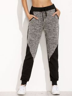 Shop Two Tone Space Dye Sweatpants online. SheIn offers Two Tone Space Dye Sweatpants & more to fit your fashionable needs.Product name: Space Dye Panel Sweatpants at SHEIN, Category: Pants Sweatpants Decorated with Drawstring, Colorblock. Sporty Outfits, Cute Outfits, Fashion Outfits, Fashion Trends, Sport Fashion, Womens Fashion, Long Pants, Jogger Pants, Joggers