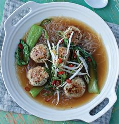 Vietnamese Pho with Chicken Dumplings and Pak Choy - Looks delicious!!