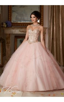 Quinceanera Dress 89101 Jeweled Beading on a Flounced Tulle Ball Gown