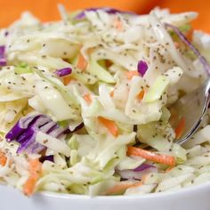 Friends, you're never going to need another coleslaw recipe again. My mom makes the absolute best sweet coleslaw and I'm sharing her secret recipe with you today. Best Sweet Coleslaw Recipe Luckily, my mom isn't Sweet Coleslaw Recipe, Kfc Coleslaw, Coleslaw Salad, Ina Garten Coleslaw Recipe, Coleslaw Dressing Recipes, Slaw Dressing Recipe Vinegar, Hot Dog Slaw Recipe, Sweet And Sour Slaw Recipe, Cole Slaw Recipe No Mayo