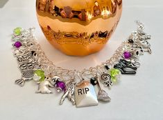 Excited to share this item from my #etsy shop: Halloween Charm Bracelet Halloween Bracelet Horror Movie Jewelry Crystal Beads, Glass Beads, Crystals, Halloween Earrings, Jewelry Polishing Cloth, Organza Bags, Purple And Black, Horror Movies, Silver Color