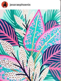 Paintings and illustrations by Kim Sielbeck Floral Illustrations, Illustration Art, Poster Photo, Art Watercolor, Guache, Tropical Pattern, Tropical Leaves, Pattern Wallpaper, Art Inspo