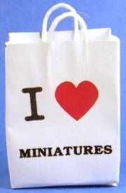"I love miniatures shopping bag $2.50 Miniature  1 1/4"" wide, 1 3/4"" tall"