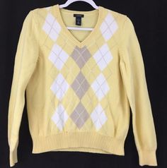 IZOD Cotton Pullover Sweater Long Sleeve V Neck Yellow White Gray Diamond Size M #IZOD #VNeck #Casual