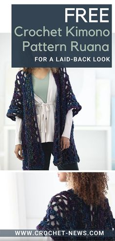 With Free Crochet Kimono Pattern Ruana for a Laid-back Look, look fashionable while working or during quick grocery runs with just one fashion piece! Crochet Shrug Pattern, Kimono Pattern, Crochet Cardigan, Crochet Shawl, Top Pattern, Free Crochet, Crochet Tops, Crochet Edgings, Irish Crochet