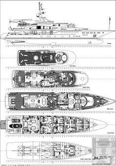 Alfa Nero Luxury Yacht deck plans Yachts Pinterest