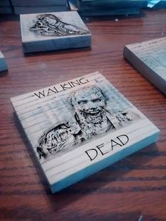 Wooden coaster with your favorite zombies from the hit show, The Walking Dead. Set of 4. Custom orders can be made with your favorite characters and colors. Please contact us prior to ordering.